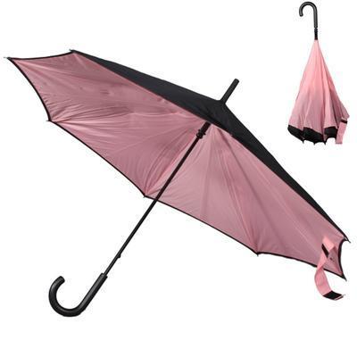 Obrácený světle růžový jednobarevný deštník Velerie - 1