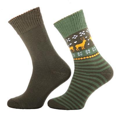 Zimní ponožky s norkým vzorem S1 zelené