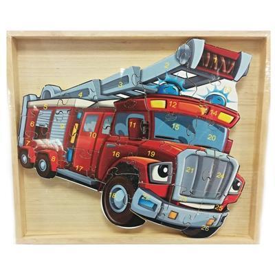 Dětské dřevěné puzzle Hasičské auto