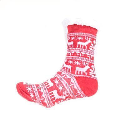 Zimní ponožky Sob s norským vzorem červené
