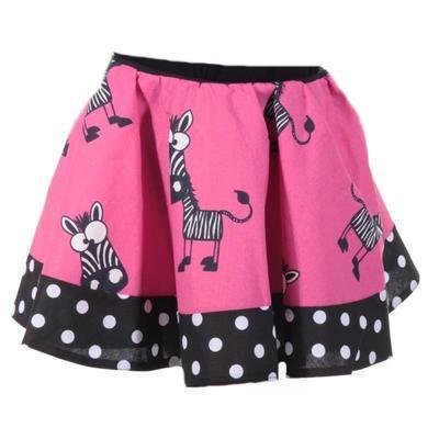 Dívčí růžová kolová sukně Magda se zebrami - 1