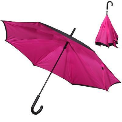 Obrácený tmavě růžový jednobarevný deštník Velerie - 1