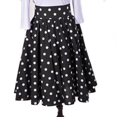 Černá sukně s pevným pasem Black s puntíky - 1