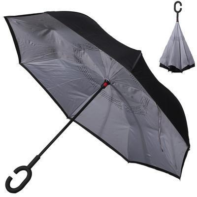 Obrácený jednobarevný deštník Lucas šedý - 1