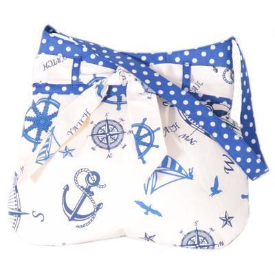 Modrá plátěná kabelka Ditta námořnický styl - 1