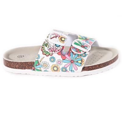 Dívčí květované pantofle Flover bílé - 1
