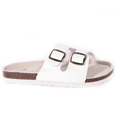 Bílé páskové korkové pantofle Simba - 1