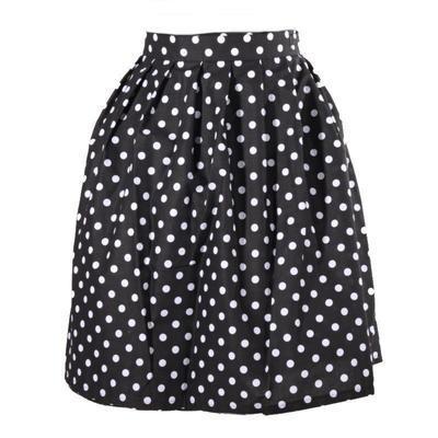 Černá zavinovací sukně Magda s puntíky - 1