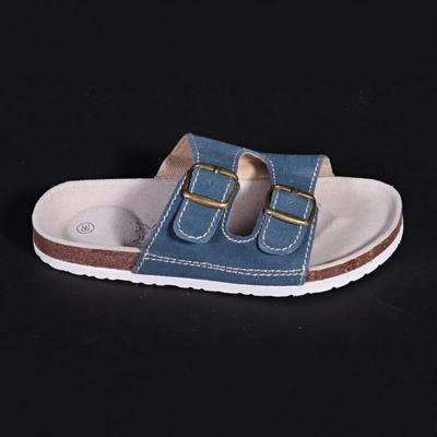Dámské páskové korkové pantofle Nela modré