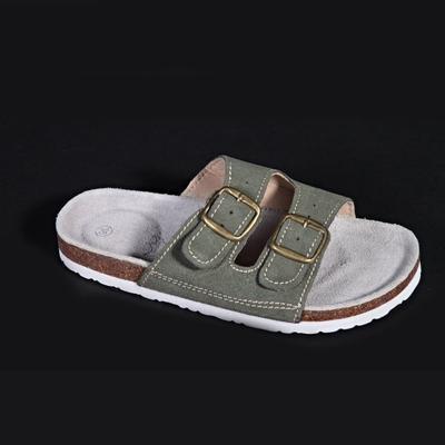 Dámské páskové korkové pantofle Nela khaki