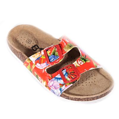 Červené korkové pantofle Kvido s květy - 1