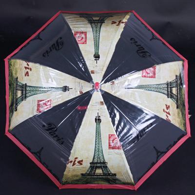Automatický průhledný dámský deštník Dean červený - 1