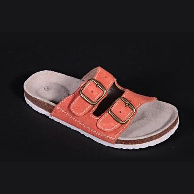 Dámské páskové korkové pantofle Nela oranžové - 1