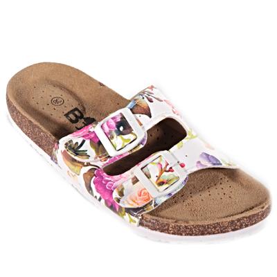 Bílé korkové pantofle Kvido s květy - 1