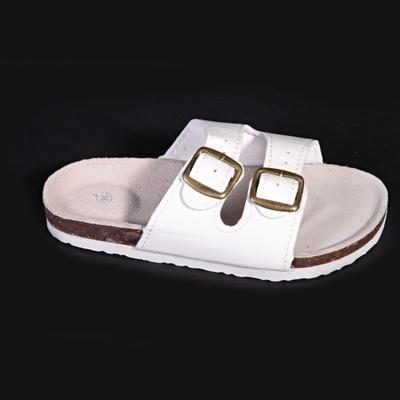 Dámské páskové korkové pantofle Nela bílé