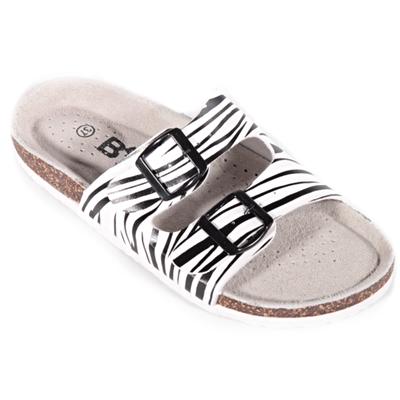 Pruhované pantofle Erika bílé - 1