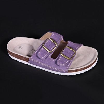 Dámské páskové korkové pantofle Tana fialové