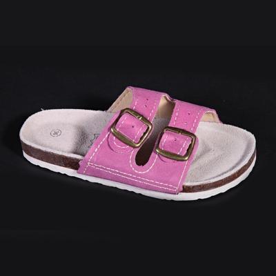 Dámské páskové korkové pantofle Nela růžové