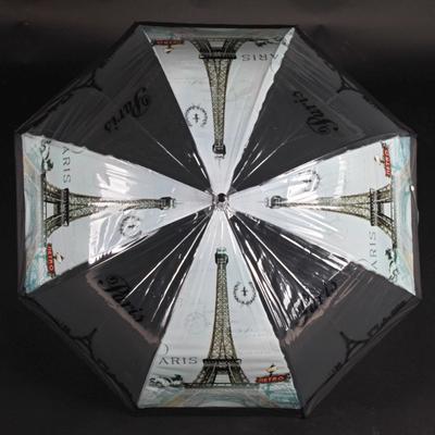 Automatický průhledný dámský deštník Dean černý - 1