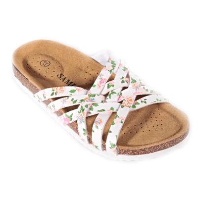 Květované páskové pantofle Silva bílé - 1