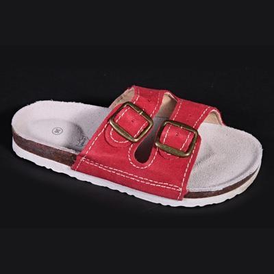 Dámské páskové korkové pantofle Nela červené