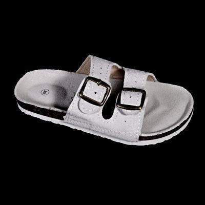Dámské páskové korkové pantofle Nela světle šedé