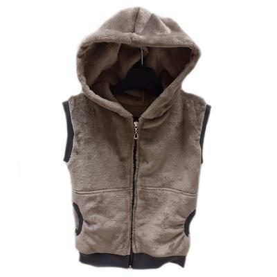Hřejivá dětská vesta s kapucí Lionela hnědá