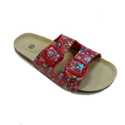 Dámské páskové korkové pantofle Brigita červené