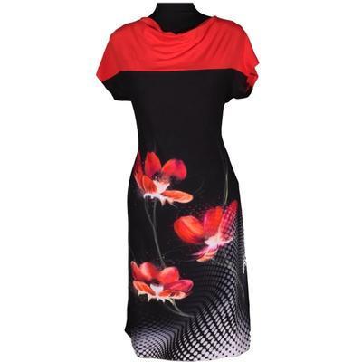 Černé šaty Aylin s potiskem - 1