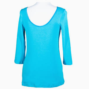 Modré tričko s midi rukávem Mia - 1/3