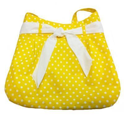 Žlutá plátěná kabelka Eliane s puntíky