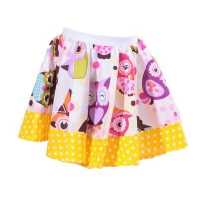 Dívčí žlutá kolová sukně Beata se sovičkami - 1