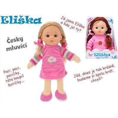 Mrkací panenka česky mluvící 30cm Eliška tmavovláska, tmavovláska