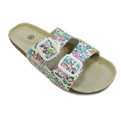 Dámské páskové korkové pantofle Brigita bílé