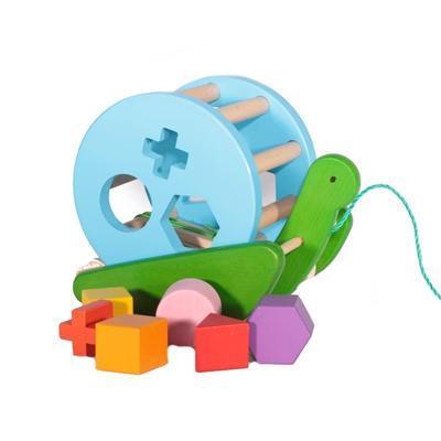 Dřevěná tahací a vkládací hračka Anička