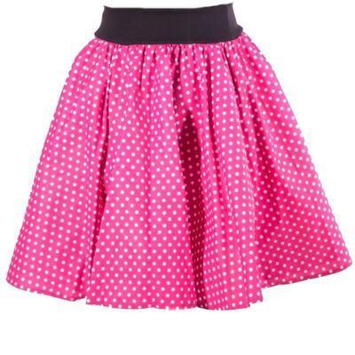 Růžová kolová sukně Adel s puntíky - 1