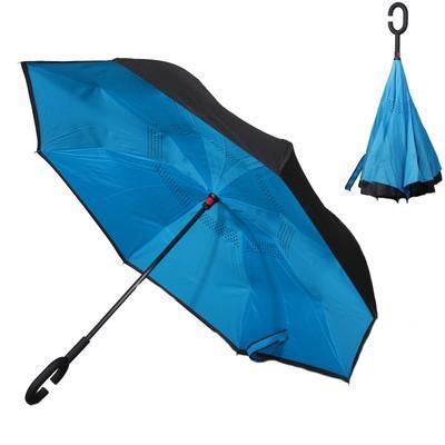Obrácený jednobarevný deštník Lucas modrý - 1