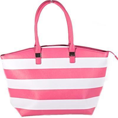 Pruhovaná dámská kabelka Lerry růžová - 1