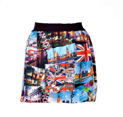 Barevná balounová sukně Izabell s potiskem Londýna - 1