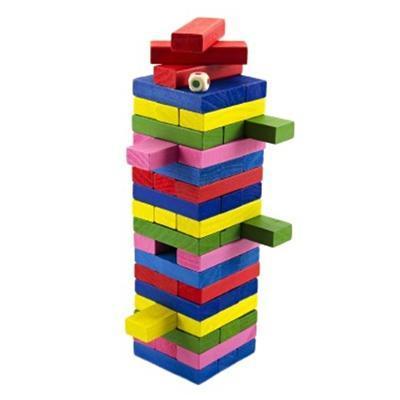 Hra Jenga barevné kostičky 54ks Pegy  - 1