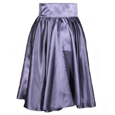 Tmavě šedá saténová sukně s pevným pasem Kimberly - 1