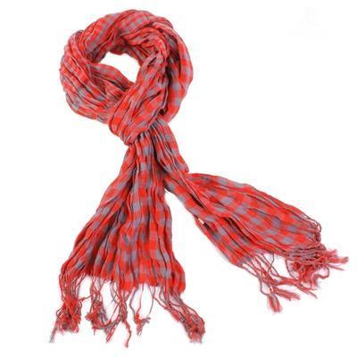Kostkovaný šátek Lott červený D7