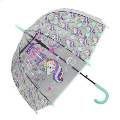 Dětský vystřelovací deštník Unicorn zelený - 1