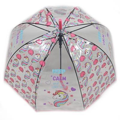 Dětský vystřelovací deštník Unicorn světle růžový - 1