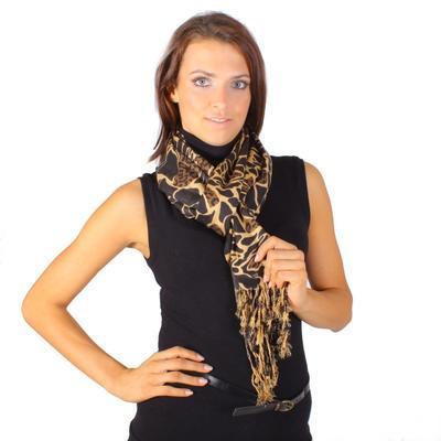 Široký tmavě hnědý šátek Nena C2 - 1