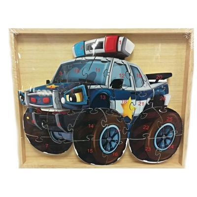 Dětské dřevěné puzzle Policejní auto