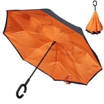 Obrácený jednobarevný deštník Lucas oranžový - 1