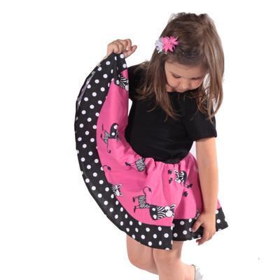 Dívčí kolová sukně Zebra - 1