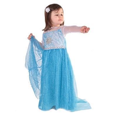 Karnevalový kostým princezna Elsa modrý - XS, XS - 1