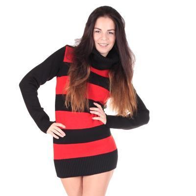 Luxusní červený pulovr Tereza s rolákem - 1
